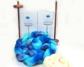 Custom for Cheyenne, Large Double Drop Spindle Yarn Spinning Kit, Biloxi Blues, With Top and Bottom Whorl Spindle