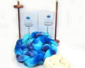 Double Drop Spindle Yarn Spinning Kit, Biloxi Blues, With Both Top and Bottom Whorl Spindle