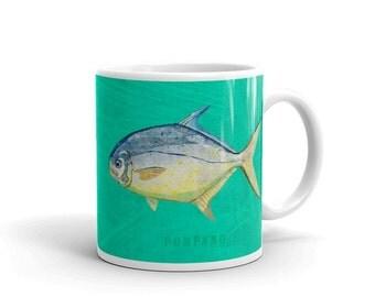 Mug for Him- Husband Gift- Fish Mug- Pompano Mug- Fishing Gift- for Fisherman Gift- Fish Gift for Him
