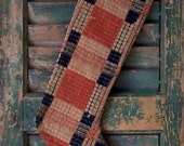 Primitive Christmas Stocking, Faded Red Blue Beige, Farmhouse Decor, Holiday Decoration, Rustic Decor, Mantle Decor - READY TO SHIP