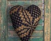 Antique Coverlet Heart Pillow, Rustic Pillow, Blue Pillow, Primitive Decor, Farmhouse Decor, Americana Cottage, Small Pillow - READY TO SHIP
