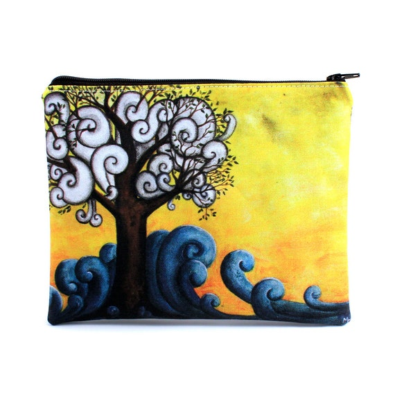 Firmly Rooted - Zipper Pouch - Strong Tree in Ocean with Clouds in Branches - Art by Marcia furman