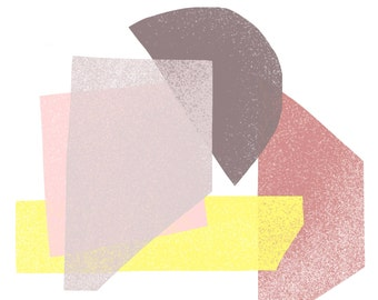Rose, Pink, Soft Gray, Yellow & Deep Gray Jumble: Modern Geometric Art Print