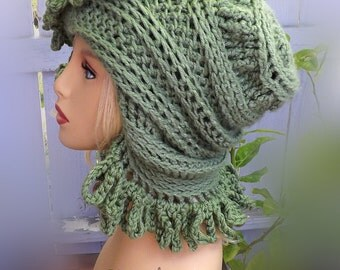 Crochet Hat Womens Hat, African Beanie Crochet Hat for Women African Hat, Light Sage Green Hat Loopy Crochet Beanie Hat for Women Winter Hat