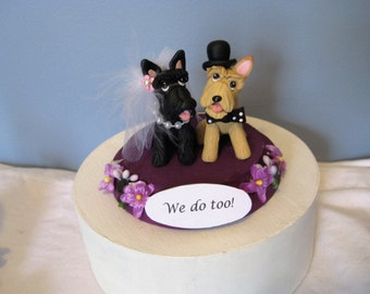 Scottish Terrier dogs Wedding Cake Topper, Mr. and Mrs., clay, handmade, anniversary, bride and groom, pawsnclaws