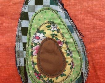 Applique Patch, Avocado Embroidered Badge