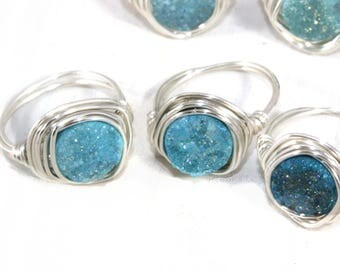 Blue Druzy Ring, Aqua Druzy Crystal Ring, Silver Wire Wrap Mineral Ring, Unique Rings for Her, Wire Wrapped Cocktail Ring, Handmade Ring