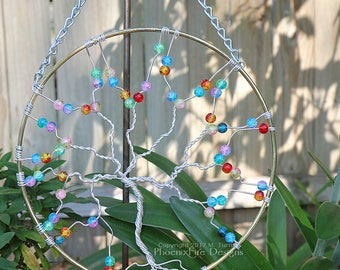 Suncatcher, Tree of Life Sun Catcher, Rainbow Glass, Large Whimsical Decor, Garden Art, Handmade Chakra Forest Wall Art, Mother's Day Gift