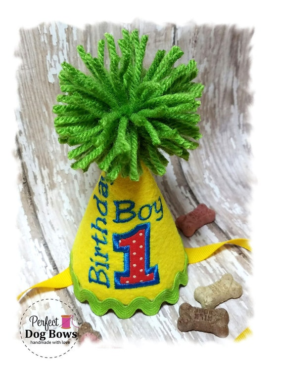 Dog Birthday Hat, Boy Dog Party Hat, Dogs First Birthday,  Yellow Birthday Hat, Party Hat, Photo Prop