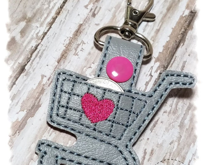 Quarter Keeper Key Chain, Shopping Cart Quarter Holder, Quarter Keeper Key Fob, Shopping Cart Keychain, Gifts for Her, Shopping Cart Key Fob