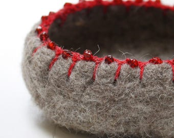 Hand-felted Wool Bowl with Beaded Edge