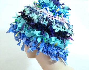 Summer crazy boho hat crochet hat hats for women funky hat rag blue hat statement hat cool crazy hat beanie cloche hat shabby chic denim hat