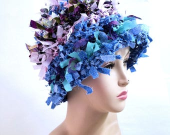 Summer crazy boho hat crochet hat hats for women funky hat rag hat statement hat cool crazy hat beanie cloche hat shabby chic denim hat