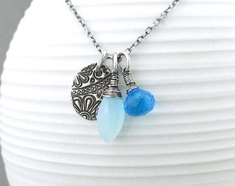 Gemstone Layering Necklace Blue Necklace Boho Necklace Charm Necklace Blue Chalcedony Necklace Handmade Christmas Gift - Duets