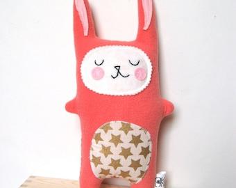Coral and Gold Bunny Rabbit Plush,  Stuffie Bunny, Rabbit Softie, Rabbit Doll, Stuffed Animal - Baby Gift