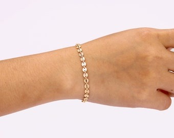 Coin Bracelet, 14K Gold fill Coin Tattoo Boho Jewelry, Tiny Circle Disc Bracelet, 925 Sterling Silver Tattoo Bracelet