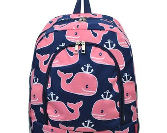 Personalized Pink Whale Backpack - Personalized Backpack - Monogrammed Backpack - Backpack Diaper Bag - Large Backpack - Girl Backpack