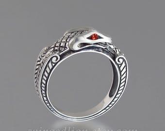 OUROBOROS silver mens Snake ring with Orange Sapphire eyes
