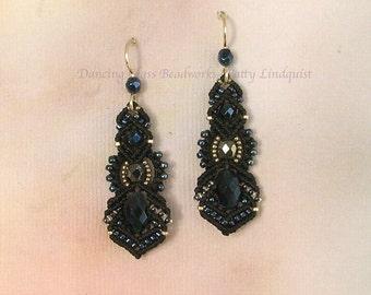 Black Macrame Earrings, Black and Silver Beaded Earrings, Micro Macrame Earrings, Kera style