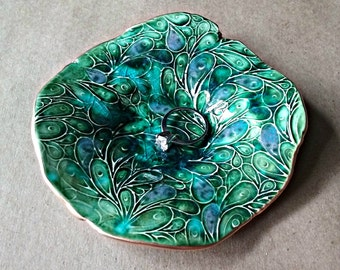 Ceramic Trinket Dish Peacock Green edged in gold