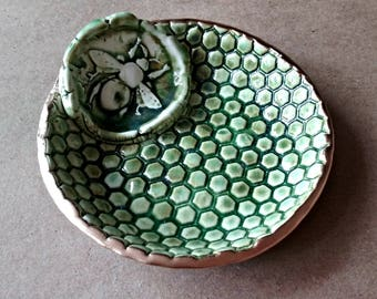 Ceramic Moss green Bee Ring Bowl edged in gold