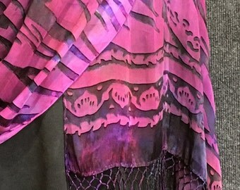 Hand Dyed Silk Shawl or Large Scarf in Water Heart Burn Out Pattern in Purples with Fringe