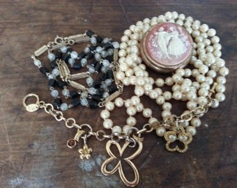 Repurpose Jewelry ... Cameo Pill Box, Glass Pearl Necklace Flapper Length, More ... Jewelry Supply, Steampunk. AS FOUND.