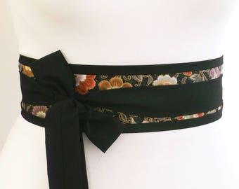 Black Obi belt sash - Ornate oriental asian eastern pattern print fabric  -  japan japanese yukata kimono wrap belt with long ties