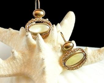 Liz Claiborne Earrings, Vintage LC Mother of Pearl Gold Tone Earrings, LC Dangle Earrings