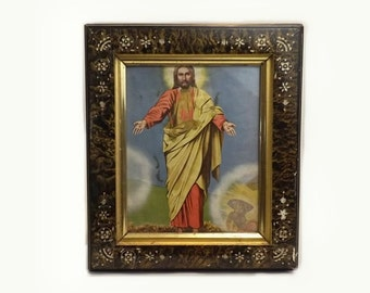 Carved Lacquer Wood Framed Print, The Resurrection of Christ, Jesus Shrine Wall Hanging, Vintage Catholic Relic, Christian Religious Icon