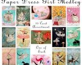 Paper Dress Girl Card Medley - 15 Postcard Set