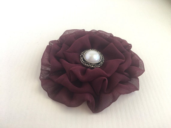 Maroon Flower Hair Clip.Headpiece.Brooch.Chiffon.Bourdeaux.Wine.pin.bridesmaid headpiece.wedding.hair piece.hair accessory.chiffon flower