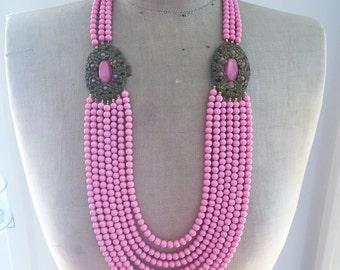Antique Buckle Multi Strand Statement Necklace - Vintage Pink