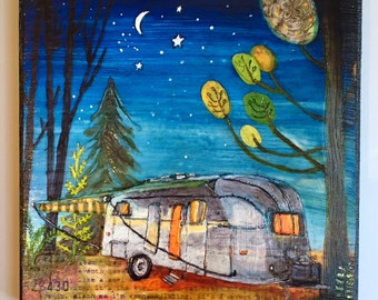 Airstream Camper - hand embellished print on wood