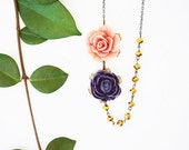 Statement Necklace Flower Necklace Purple Necklace Pink Necklace Gold Necklace Bib Necklace  Bridesmaid Jewelry Bridesmaid Gift Women Gift