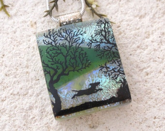 Running Dog Necklace, Dichroic Glass Jewelry, Dichroic Glass Jewelry, Necklace Included, Dichroic Glass  Pendant, Dog Jewelry, 102616p103
