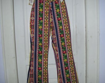High Waist Pants Pantasticks NWT Bell Bottom Jeans 1970s 70s Vintage Retro Hippie Boho Flare Primary Flower Power Stripe Adult Pants sz 12