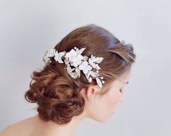 Bridal clay flower headpiece - Cloud burst and flora headpiece - Style 755 - Made to Order