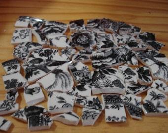 Mosaic Pieces- Black & White Scenic - Toile Transfer Ware -  Broken Plate -Tessera