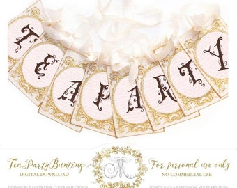 Tea party bunting, banner, digital, instant download, party printable, vintage style, Personal use only