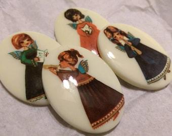 4 x Vintage Musical Angel Plastic Limoge Cabochons - 1960s Retro Christmas
