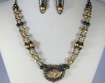 Golden Dragon Necklace with Earrings