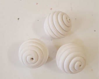 White Round Polymer Clay Coil Beads/ Set Of Three 16mm Handmade Beads/ Jewelry Supplies/ Sculpey Clay Beads