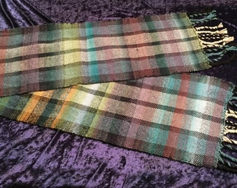 Scarf, Plaid Scarf, Mens Scar, Womens Scarf, Unisex Scarf, Wool Scarf, Handmade Scarf, Handwoven Scarf, For Him, For Her, For Husband