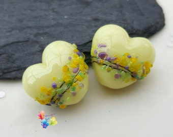 Lampwork Beads Lemon Crocus Blossom Heart Pair