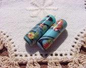 Aqua Blue Millefiori Tubes Vintage Japanese Glass Beads