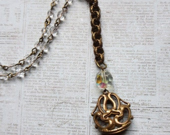 Vintage Art Deco Brass Watch Fob Charm Pendant With P W Monogram Repurposed on Brass Chain with Beaded Crystal Rosary Chain
