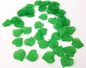 50 Green Leaf Beads acrylic charms 16MM (H2404)