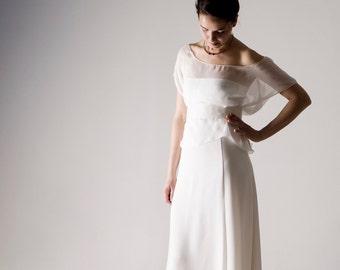 Wedding top, Sheer Silk blouse, Wedding separates, Chiffon wedding top, Simple wedding dress, Casual wedding dress, Two piece wedding dress