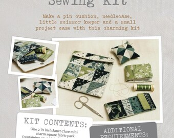 Sewing Kit - Sewing Pattern and Fabric Kit - everything you need to make these charming mini sewing accessories